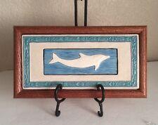 """Bin Dickson Wood Framed Ceramic Purple Green Blue White DOLPHIN TILE 6x11"""""""