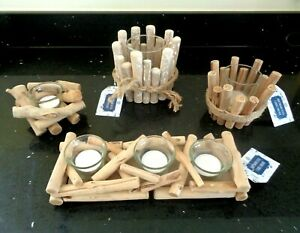 DRIFTWOOD STYLE CANDLE HOLDERS TRIO, LARGE, MEDIUM or SMALL -  You Choose.