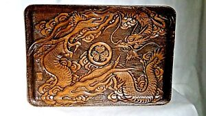 ANTIQUE MEIJI JAPANESE WOOD RELIEF CARVED FIERCE DRAGON W/CENTRAL TOKUGAWA MON