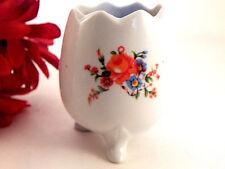 Footed Egg Vase White Porcelain Floral Hat Pin Holder Vintage Vanity Table Dish