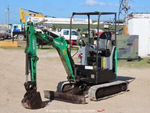 2015 Bobcat E20 Mini Excavator Rubber Tracks Backhoe Dozer Blade Bucket bidadoo