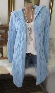 Winter Cardigan Strickjacke Jacke Kapuze Vintage Grob Zopfmuster Hell-Blau 36-40