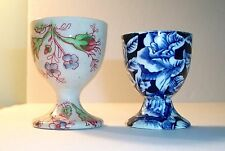 Vintage English chintz eggcups egg cup x 2 - blue Myott & Johnson Bros rose