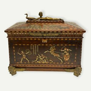 Egyptian Revival Bronze Mounted and Inlaid Chest