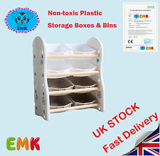 Kids 4 Tier Toy/bedroom Storage Shelf Unit & 8 Plastic Boxes Drawers UK Stock