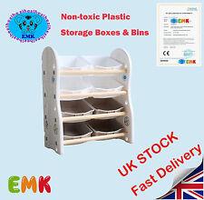 Childrens/Kids 4 Tier Toy/Bedroom Storage Shelf Unit & 8 Plastic Boxes Drawers