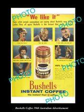 OLD LARGE HISTORIC AUSTRALIAN BUSHELLS INSTANT COFFEE ADVERTISEMENT PHOTO, 1960