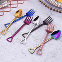 Long Handle Soup Coffee Shovel Shape Stainless Steel Ice Cream Spoon Fork