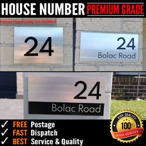 Custom Street Number Plaque / House number Sign - Brushed Aluminium