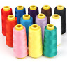 12 X1500M Overlock Sewing Thread Assorted Colors Yard Spools Cone 100% Polyester