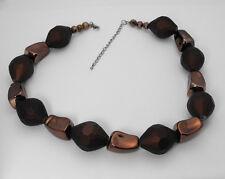 "Large Size Chunky Bronze Hematite Nuggety & Rubberize Beaded Necklace 19"" - 22"""