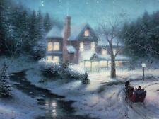 Moonlit Sleigh Ride - Winter, Snow, Moon, Horse - Thomas Kinkade Dealer Postcard