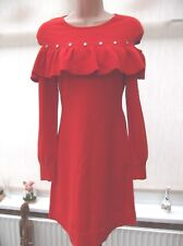 BNWT KAREN MILLEN KNITTED RUFFLED STUDDED RED A LINE DRESS SIZE XS  CHRISTMAS
