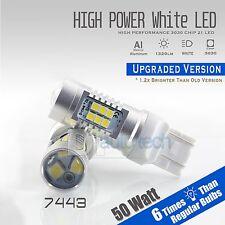 2X 7440 1300 Lumens 50W White Backup Reverse High power LED Light Bulbs