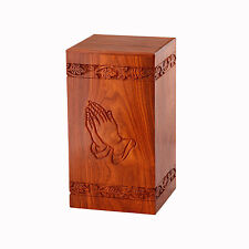 Solid Rosewood Cremation Urn with Hand-Carved Praying Hand Design, Handcrafted!