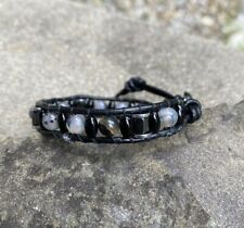 Men's Unisex Clear Black Crackle Agate Beaded Black Leather Wrap Bracelet