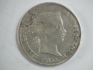 Pièce Espagne ; 20 réales argent Isabelle  1856