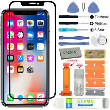 For Apple iPhone X Front Glass Lens Screen Bezel Replacement Kit LOCA Glue Tools