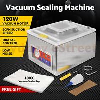 120W Digital Vacuum Packing Sealing Machine Sealer Packaging Industrial Chamber