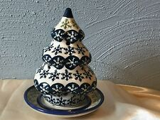"Polmedia Pottery 8"" Stoneware Tea Light Christmas Tree Boleslawiec Poland Plate"