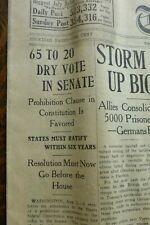 Vtg Newspaper -Prohibition Resolution Submitted Senate Boston Post August 2 1917