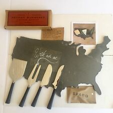 Sundance Slate United States Board and 4 Piece Artisan Forged Hammered Knife Set