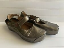 WOLKY Bronze LEATHER MARY JANE COMFORT SHOES 37 7 Clogs Cloggy
