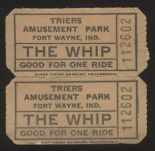 FT FORT WAYNE Indiana/IN  Triers Amusement Park The Whip Ride Tickets Pair