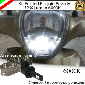 KIT A LED H7 6000K 3200 LUMEN PIAGGIO BEVERLY DAL 2010 IN POI ABBAGLIANTE