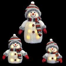 Red/Grey Light Up Snowman Decoration Novelty Christmas Festive Fluffy 33/20/15cm