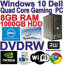 Windows 10 dell core 2 QUAD gioco Tower PC Computer - 8GB RAM - 1000GB-HDMI,