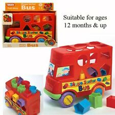 COLOURFUL / ATTACHABLE SLOT Push Along Shape Sorter Bus Toy / Fun / Gift
