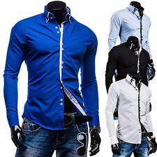 hombre moderno LUJO sólido Fit manga larga vestido Casual camisas blusa Tops