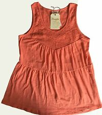 NWT Women's Wrangler Signature Tiered Lace Solid Trim Coral Tank Top Large New