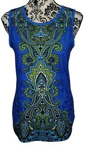 Athleta Womens Muscle Up Tank Paisley Printed Tank Top Size MT Blue 427848