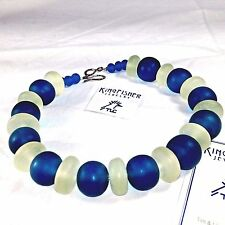 Unique Hand Made Beaded Necklace Blue White Virginia Kingfisher Jewelry Caviness