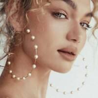 Chic Gold Plated Women Pearl Big Circle Hoop Dangle Drop Ear Stud Earrings Gift