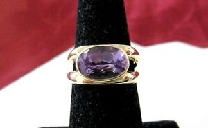 14K YELLOW GOLD OVAL AMETHYST GEM STONE FASHION STYLE RING SIZE 7.25