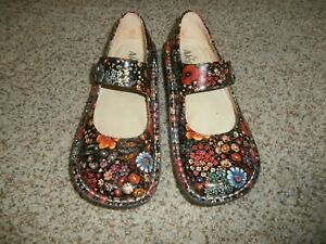 Alegria Paloma PAL-323 Midnight Garden Patent Floral Mary Jane Shoes  40 US 10