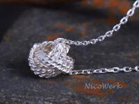 Silberkette mit Anhänger Kugel Draht Gewickelt Schlicht Halskette Damen 925
