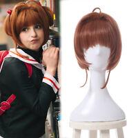 Card Captor Sakura Kinomoto Cosplay Wig Short Straight Brown Bangs Hair Wigs