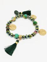 Bracelet Bijoux femme Fantaisie Vert Perles Médaillons Pompons Bois NEUF ref 23