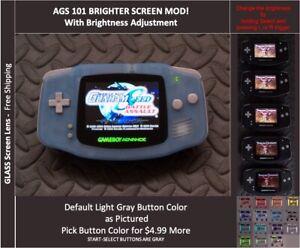 GBA Backlit Mod AGS101 LCD w/ 5 Level Brightness Switch - GITD Blue
