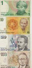 Israele Lotto 4 Banconote 1,10,20,100 Sheqalim Mb/Bb [x22]
