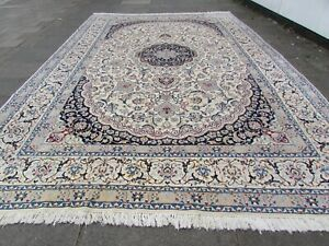 Fine Vintage Traditional Hand Made Rug Wool Silk White Oversize Carpet 540x343cm