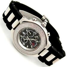 Men's Richard & Co Diamond 0.60ct CHRONO Watch RC 3004 Black Rubber Quartz-SWISS