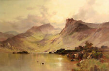 Oil painting In a Highland Valley loch with cattle with Waterfowl on the lake