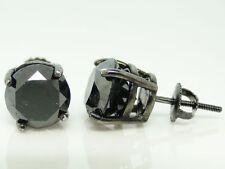 Mens Ladies Black Diamond Solitaire Stud Earrings 6 Ct