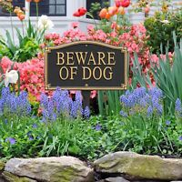 Beware of Dog Statement Plaque w/lawn stake