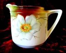 VINTAGE C.1900 ART NOUVEAU WILD ROSE PITCHER BY # CROWN CHINA - GERMANY